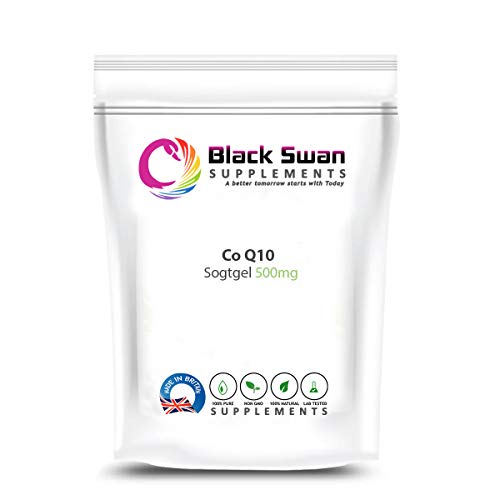 Black Swan COQ10 Softgels - with high Anti-oxidant Power Support Healthy Heart Skin Health migraines 500 mg (120 Softgels)