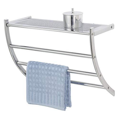 WENKO Exclusiv Wandregal Pescara - mit Handtuchhalter und Ablage, Stahl, 56 x 46 x 21.5 cm, Chrom
