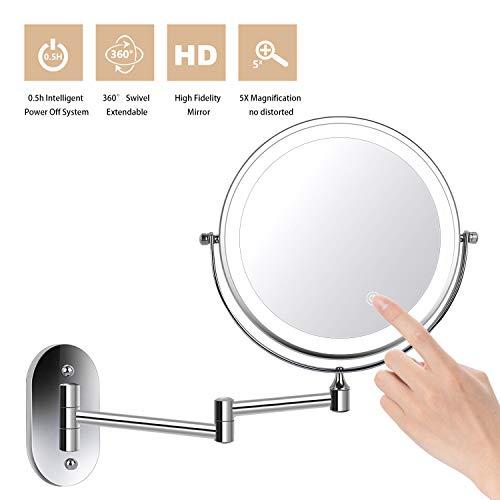 ZEPHBRA Kosmetikspiegel LED Beleuchtet mit 1x/5x Fache Vergrößerung Touchscreen Batterie Schminkspiegel Rasierspiegel 360°Schwenkbar Faltbar Wandmontage für Badezimmer