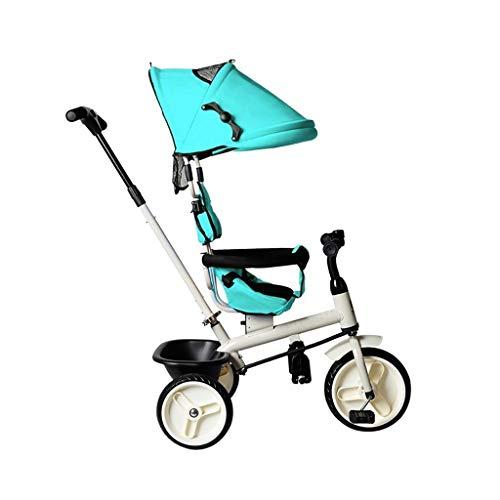 GYF Triciclo, multifunción 4-en-1 Triciclo Sin Asiento Giratorio, Triciclo del bebé al Aire Libre, 2 Colores, 94x92x57cm (Color : Blue)