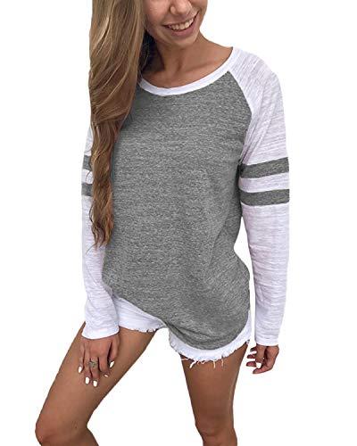 YOINS Pulli Damen Langarmshirt Sweatshirt mit Streifen Rundhals Ausschnitt Oversize Hemd, Streifen-grau, Gr.- S/ 36-38
