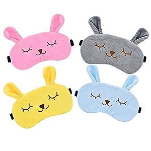 4 Piezas Animales Dormir Máscara, Animal Sueño Antifaz Viajes Resto, Ajustable Linda Ojos Antifaz para Niña Mujeres Niños(4 colores)
