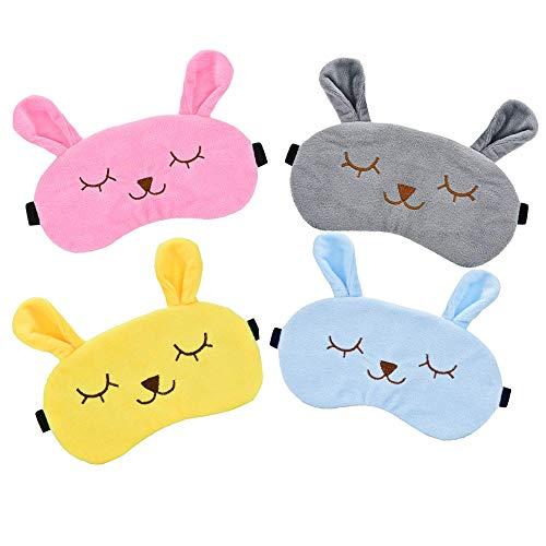 4 Stücke Tier Schlafmaske, Kaninchen Augenmaske Weichem Plüsch Augenbinde, Rabbit Schlafmaske Eye Shade Cover Blindfold(4 Farben)