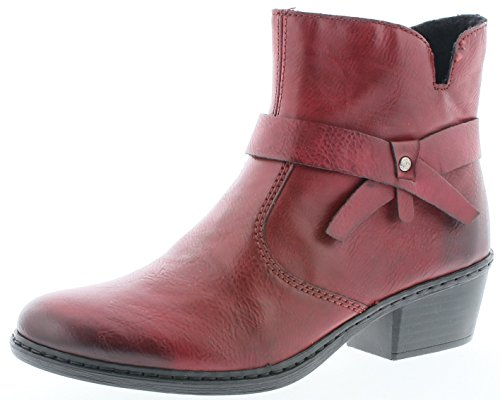 Rieker 75553 Damen Stiefel, Stiefelette, Schlupfstiefel, Boot, Slip-On Boot rot (Wine / 35), EU 42