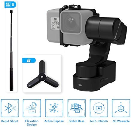 FeiyuTech Feiyu WG2X Splash-Proof 3-Axis Wearable Gimbal Stabilizer with 360° Pan and Tilt Rotation, Action Camera Gimbal Compatible with GoPro Hero 7/6 / 5/4 / Session and Similar Size Cameras, comes