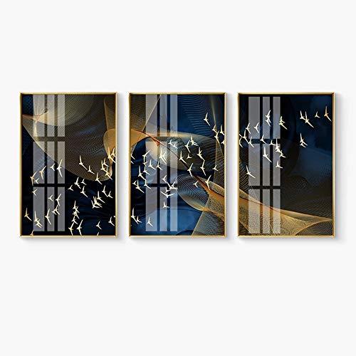 LCSD mural sala de estar sofá telón de fondo triple luz de cristal de aluminio de cerámica decorativa ciervo nórdico oro rico iraquí aves 40 x 60 cm