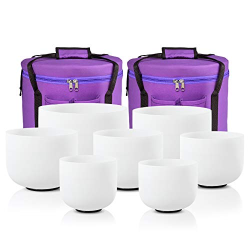 CVNC 432HZ 6-12 Inch Set Of 7 PCS Frosted Chakra Quartz Crystal Singing Bowls Free 2 PCS Travel Carry Case Bag For Sound Healing