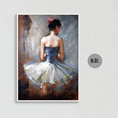 Olieverfschilderij, handbeschilderd, op canvas, abstract figuur, schilderwerk, dames, in witte rok, vintage, Europese, modern, kunsthandwerk, wanddecoratie voor woonkamer, keuken, volwassenen 70 x 105 cm