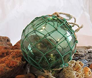 Vintage Japanese GLASS FISHING FLOAT With Full Original Net, Makers Mark, Moss Green (#38)