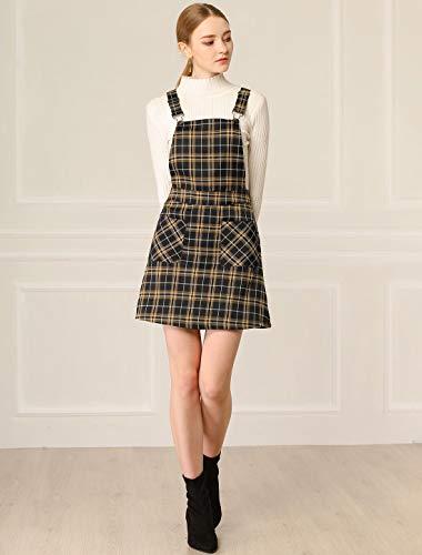 Allegra K Women's Tartan Adjustable Strap Above Knee Overall Pinafore Dress Black-Brown 12