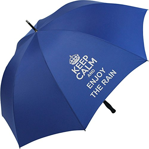 Golfschirm Fiber-XXL extra groß und stabil mit Fiberglas-Streben - Bedruckt Keep Calm… - royal-blau