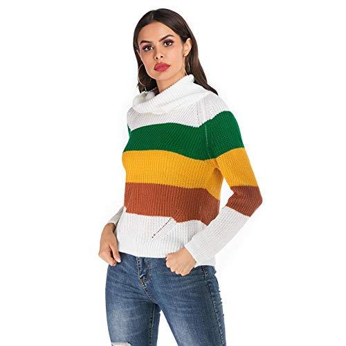 QXPORV dames gebreide trui met lange mouwen sweatshirt rolkraag hit kleur gestreepte pullover vrouwen herfst en winter dragen rood losse kop student college-stijl