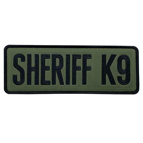 uuKen Large Embroidery OD Green Deputy Sheriff K9 Unit Department Military Patch 8.5x3 inch with Hook Fastener Back for Tactical Vest Jackets Uniform (OD Green, Large 8.5'x3')