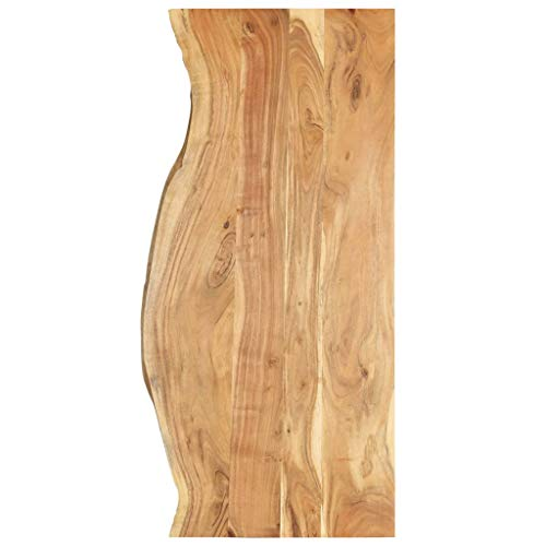 vidaXL Akazienholz Massiv Waschtischplatte Badezimmer Waschtisch Waschtischkonsole Platte Holzplatte für Aufsatzbecken Badmöbel Baumkante 140x55x2,5cm