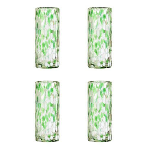 Amici Home, , Confetti Collection Tom Collins Drinking Glass, Handmade Artisanal Mexican Drinkware, Recycled Glass, Dishwasher Safe, Set of 4, 12 Ounces