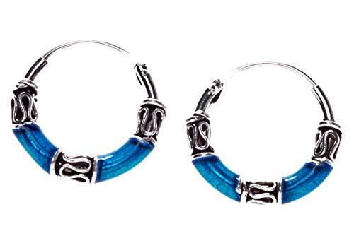 WINDALF Zarte Vintage Viking Creolen NANIKA Ø 1.1 cm Ozean Blau mit Ornamentik Boho Ohrringe 925 Sterlingsilber