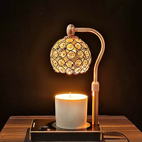 Candle Warmer,Exquisite Crystal Lampshade Candle Lamp Warmer, Electric Candle Wax Warmer, No Flame Candle Lamp Adjustable Height&Brightness Warmer Heater Lamp for Bedroom (Gold)