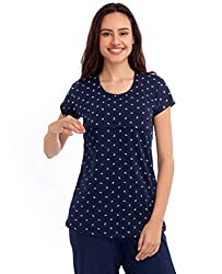 ZEYO Womens Cotton Navy Blue Floral Print Feeding Top