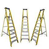 LADDERMAN 8Step Platform FRP Self Supported Foldable Electrical Shock Proof Fiber Glass Safety Ladder, 8ft Yellow