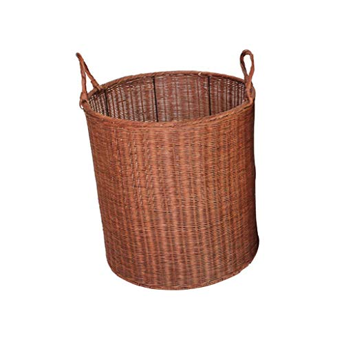 ZHAOSHUNLI Panier à linge Poignée de doublure de tissu de jardin de rotin de panier de panier de blanchisserie de panier à la maison (Color : Brown)