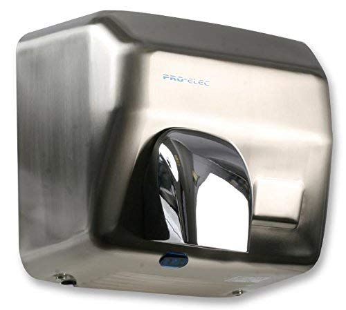 PRO-ELEC GSQ250B Brushed Steel 2500 W Automatic Electric Hand Dryer, Brushed Silver