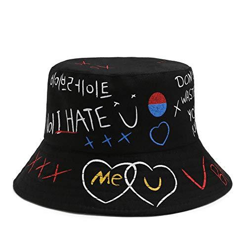 Lazz1on Cappello da Pescatore Cappellino da Protezione del Sole in Cotone Unisex Pieghevole Graffiti Creativi Hat per Escursionismo Campeggio in Viaggio Pesca 56-58cm