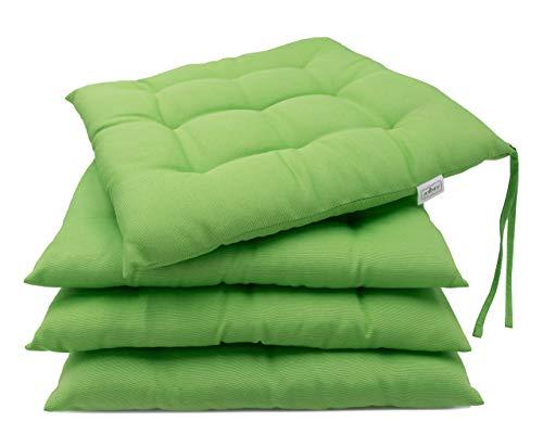 ZOLLNER 4 Cuscini da Sedia per Dentro e Fuori, 40x40 cm, Verde, Altri Colori