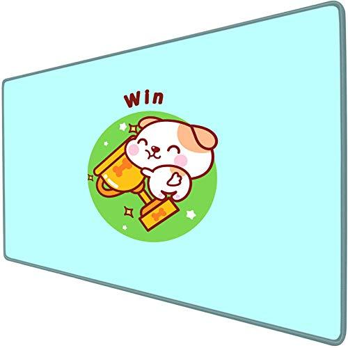 IKAEASD Alfombrillas Gaming Trofeo Perro Azul Anime Dibujos Animados Lindo Alfombrilla de ratón para Juegos tapete de Escritorio Sobredimensionado Anime Suave Impermeable