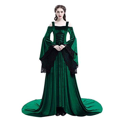 serliy😛Damen Langarm mit Kapuze Mittelalter Kleid bodenlangen Cosplay Dress Age Mittelalter Kleidung Große Größen Renaissance Kostüm Lang Halloween Kostüm