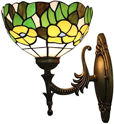Lámparas de pared Vidrio Manchado Tiffany Amarillo Flores y hojas verdes Cama Scoise Wall Scote para Escalera de Dormitorio