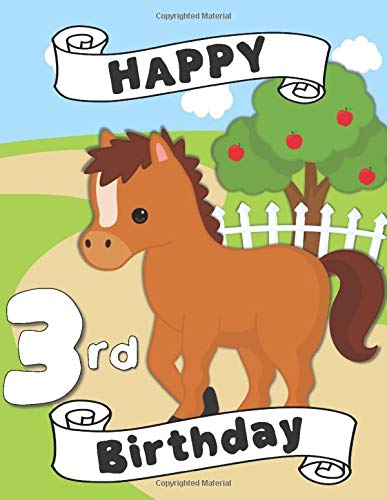 Happy 3rd Birthday: A Horse Coloring Book for a Third Birthday Party | Birthday Card Gift Alternative