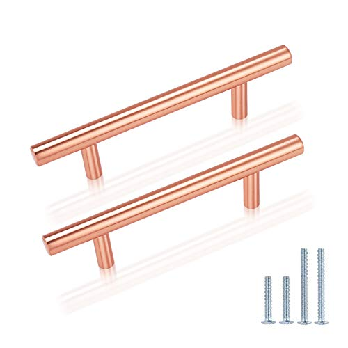 25 Pack Bar Shape Cabinet Pulls,Stainless Steel Rose Gold Cabinet Handles,3 inch Hole Center Copper Pulls for Dresser Drawers,Solid Kitchen Pulls