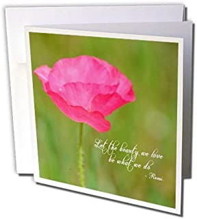 3dRose Let The Beauty Pink Poppy Rumi Quote Floral, Greeting Cards, Set of 6 (gc_164629_1)