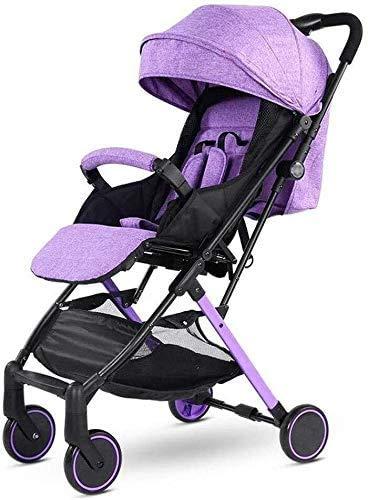 DAGCOT Cochecito de bebé sentado Horizontal portátil plegable de 4 ruedas Suspensión paraguas Viajes yangmi (Color : Purple)