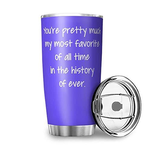 AOIWE Sie sind ziemlich viel Reisen Tassen 20 oz Doppelwand Edelstahl vakuumisoliertes Becher mit Deckel Kaffeetasse Kaffeetasse für Außenwerke für Kaffee Kakao Wasser Heide Tee weiß 600ml