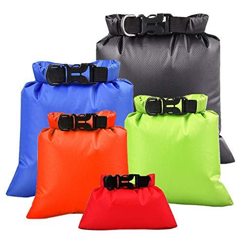 Sawpy Colorful Natación Bolsa Impermeable, 5 unids/Set Bolsa Seca de Almacenamiento de Rafting para Acampar al Aire Libre con Gancho de Correa Ajustable