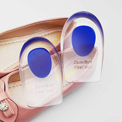 HUAHUA Silikon-Fersenschale, Medizinische Einlegesohle, Korrigierende Gelpolster-Einlegesohle, Zur Behandlung Von Plantarfasziitis, Fersenschmerzen Und Fußpflege (2 Paare) UK7.0-11/Blau.