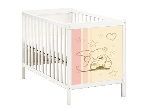 STIKKIPIX Teddy Möbelsticker/Aufkleber für das Babybett SUNDVIK von IKEA - SB02 - Möbel Nicht Inklusive