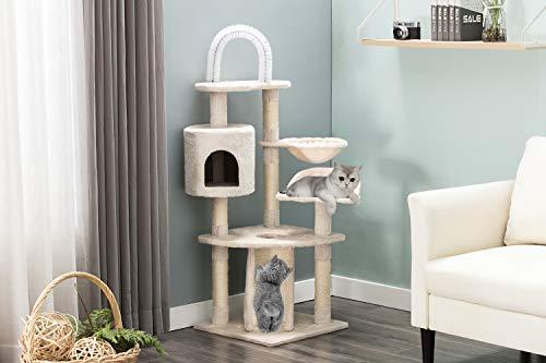 JL Comfurni キャットタワー 据え置き猫ハウス cat tower 登り降りしやすい 爪とぎ 猫タワー 麻紐 コンパク...