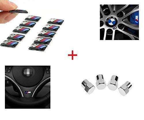 10 Unid 3D Adhesivos Emblema Llantas Volante. Incluye 4 unid tapones cromados regalo.