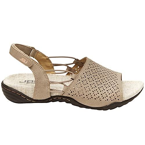 JBU by Jambu Women's Pixie Flat Sandal, LIGHT TAUPE/PEACH, 7.5