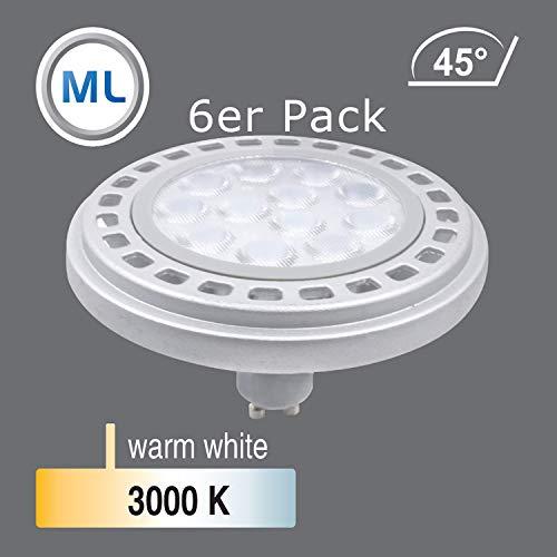Qpar111 LED Leuchtmittel GU10 Sockel, 12W 3000K /4000K Abstrahlwinkel 45°/120° Roncalli 111 Durchmesser ersetzt 90W Halogen (3000K 45° - 6348.06)