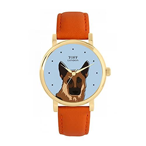 Toff London Reloj con Cabeza de Pastor alemán marrón