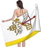 Strandtuch Erwachsene (32x52 Zoll) Vatikanstadt-Flagge Mikrofaser-Strandtücher Übergroßes, weiches Gefühl, schnell trocknende Badetücher für das Fitnessstudio Strandschwimmen Picknickdecke
