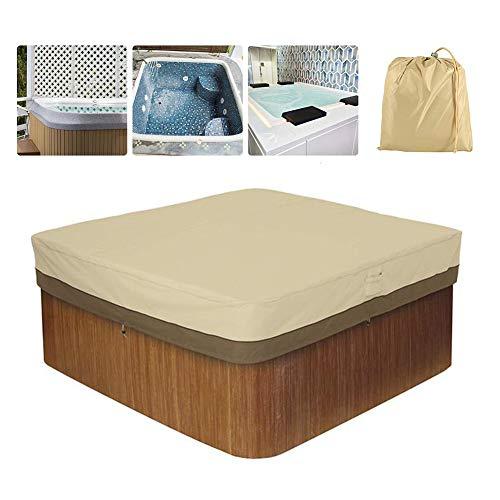 HEWYHAT Cubierta Cuadrada para bañera de hidromasaje, Exterior 100% Resistente a los Rayos UV Cubierta de SPA Protección Solar Cubierta de Muebles de poliéster Resistente,Beige,239×239×50cm