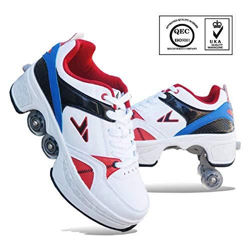 SHANGN Patines En Línea - Patines De Ruedas - Zapatillas De Deporte 2 En 1 Unisex - Zapatos De Skate De Deformación Deportiva Al Aire Libre - Regalo Divertido para Principiantes,Blue-43
