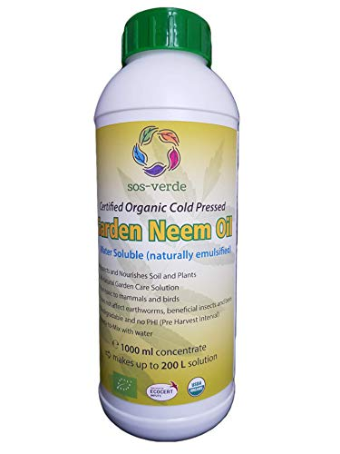 SOS-VERDE Garden Neem Oil - Water Soluble - 1000ml - Certified Organic - Protect Your Plants Throughout all Seasons from seed to harvest - 1L Concentrate = up to 200L Solution