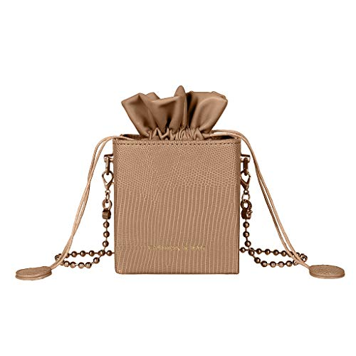 Best Prices! Leaf2you Small Drawstring Cubes Bucket Bags Artificial Leather Stripe Pattern Bead Chai...