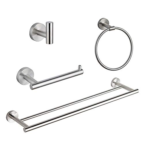 GERZ Bathroom 4-Piece Accessory Set Brushed SUS 304 Stainless Steel Double Towel Bar Toilet Paper Holder Towel Ring Robe Hook Wall Mount