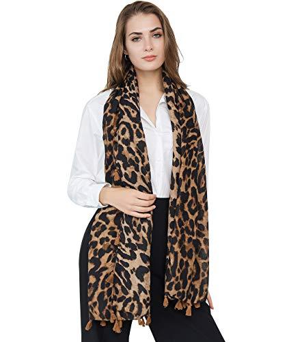 Superora Bufanda Para Mujer Pañuelo Estampado de leopardo Invierno Chal Foulard Grante Manta Larga Elegante y Moda Larga Grante Corta Suave Ultraligero Marrón